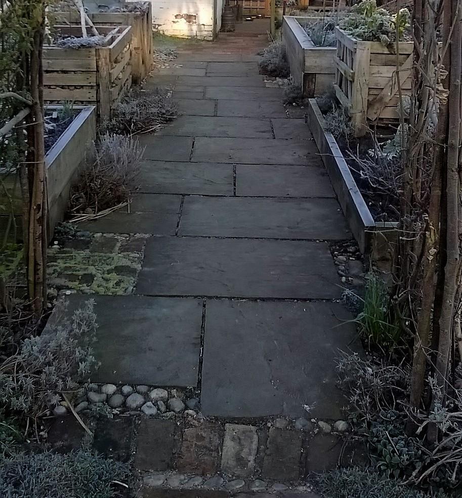 wide path through cutting garden