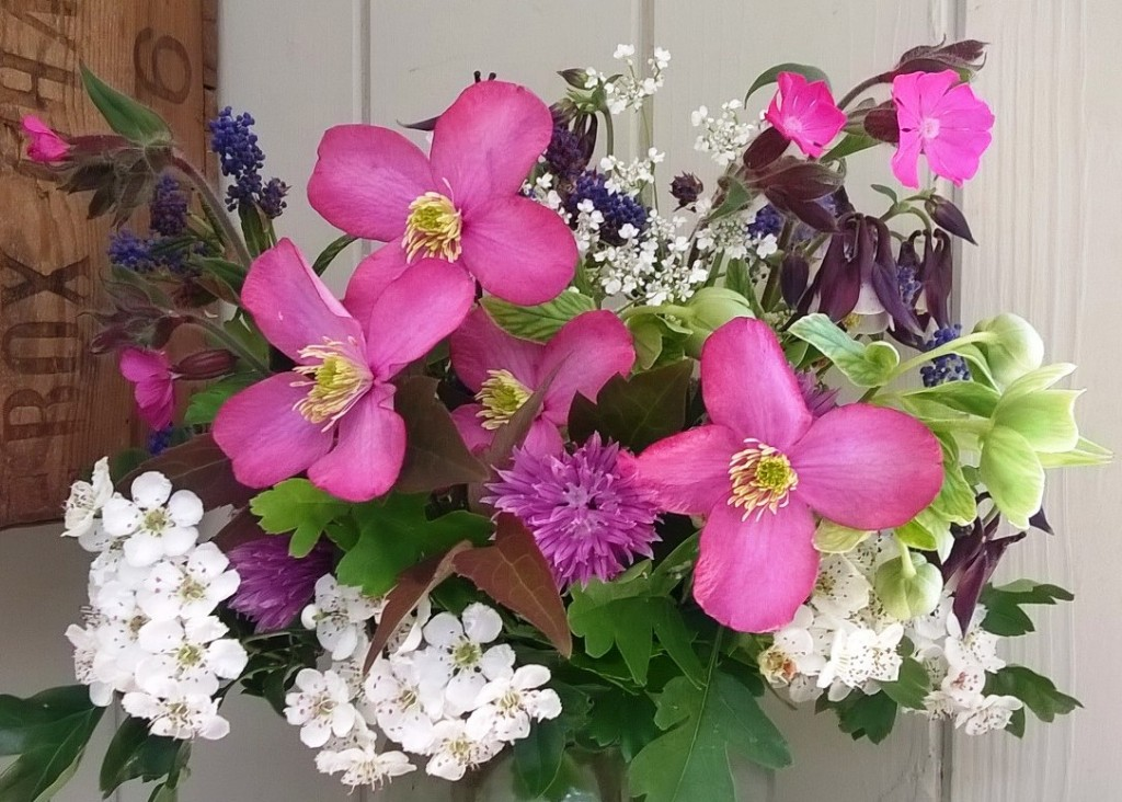 Clematis and Hawthorn with Chives