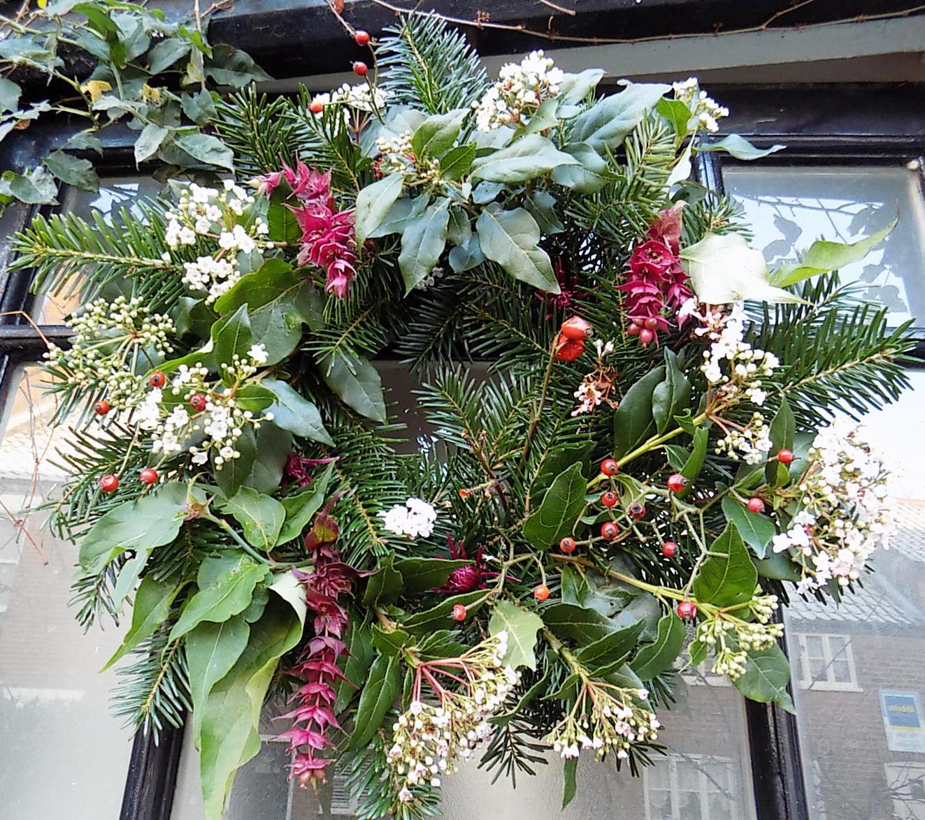 Fresh flower Christmas wreath